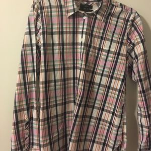 Never Worn- J.Crew Classic Fit Pink Plaid Shirt